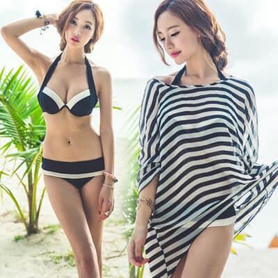 Bikini 2 Mảnh Đen Trắng Áo Khoác Sọc Đen Trắng Đẹp Nhất