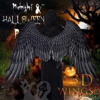 【READY STOCK】 Halloween costume 3D Angel Wings Accessories boy girl White Black Adult Children