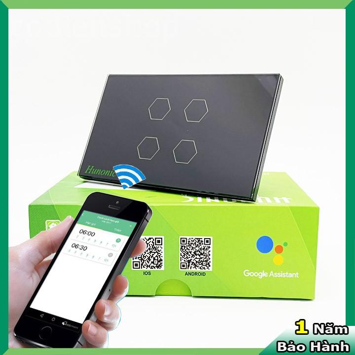 Công tắc cảm ứng [ĐIỀU KHIỂN TỪ XA] bằng điện thoại HUNONIC 4 Nút màu đen ️  WIFI + HẸN GIỜ (Công nghệ 4.0) giá cạnh tranh