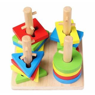 Đồ chơi- đồ chơi xếp hình trụ bằng gỗ