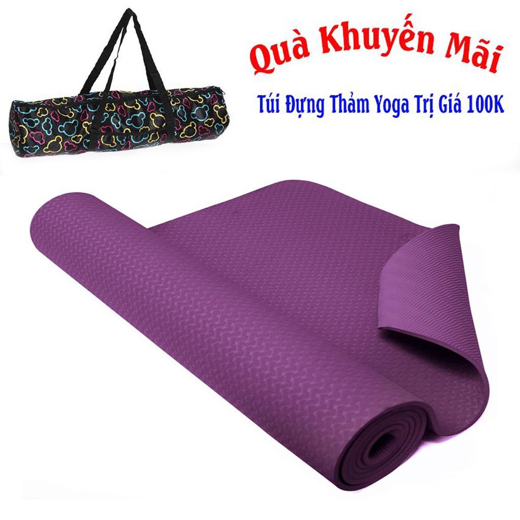 Thảm Yoga Màu Tím 1 Lớp TPE 6mm Tặng Thêm Túi Đựng Thảm