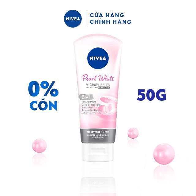 Sữa rửa mặt NIVEA Pearl White Đất Sét giúp trắng da ngọc trai (50g) – 82339