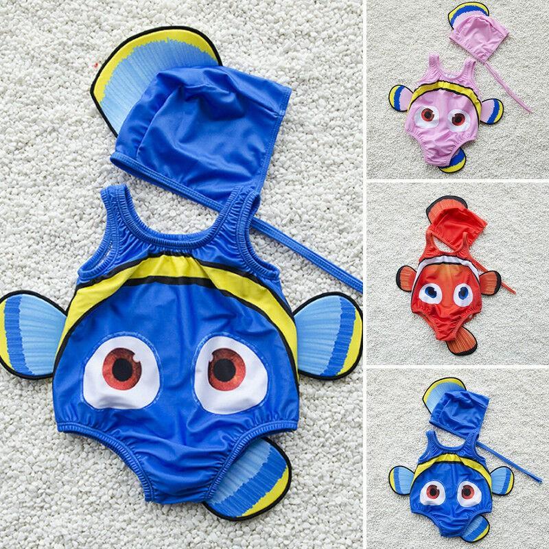 Đồ bơi liền thân sát nách tạo hình con cá kèm mũ đội dễ thương cho bé