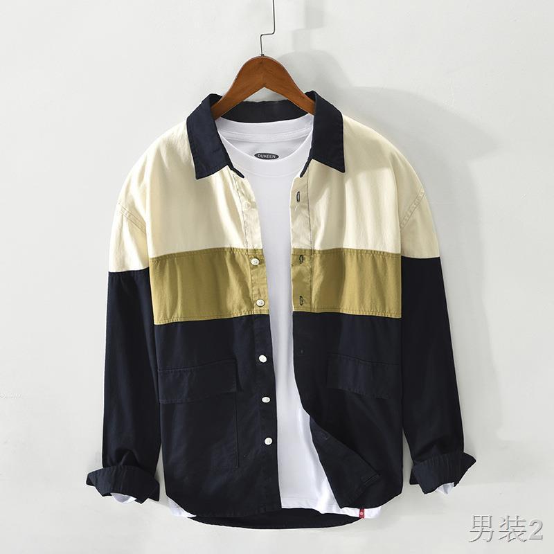 Áo sơ mi Nam Trang M Mùa xuân và hè dài tay giản dị Cotton Trend Pocket Nhật Bản Màu sắc tương phản Thời5