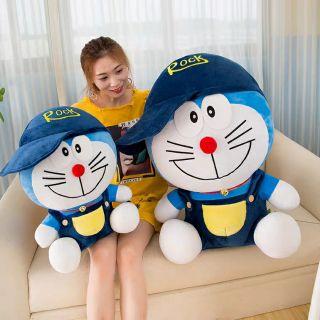 Gấu bông doremon đội mũ chất liệu vải nhung Hàn Quốc đáng yêu nghộ nghĩnh