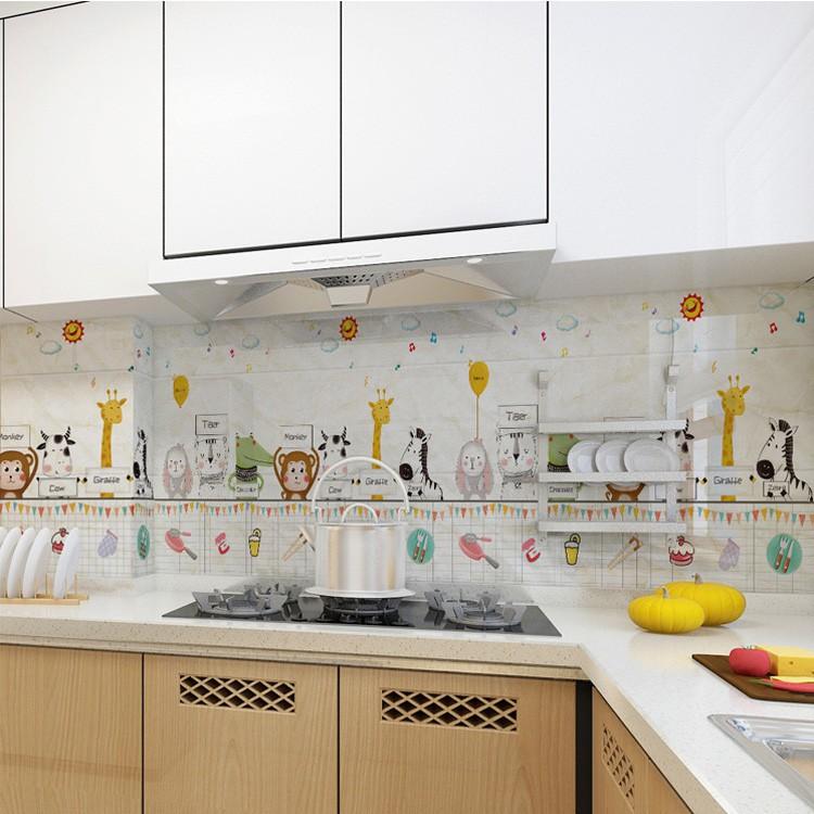 Decal Dán Bếp Mẫu Hoạt Hình Khổ 60cm - Miếng Giấy Dán Tường Nhà Bếp Cách Nhiệt Chống Dầu Mỡ, Chống Thấm