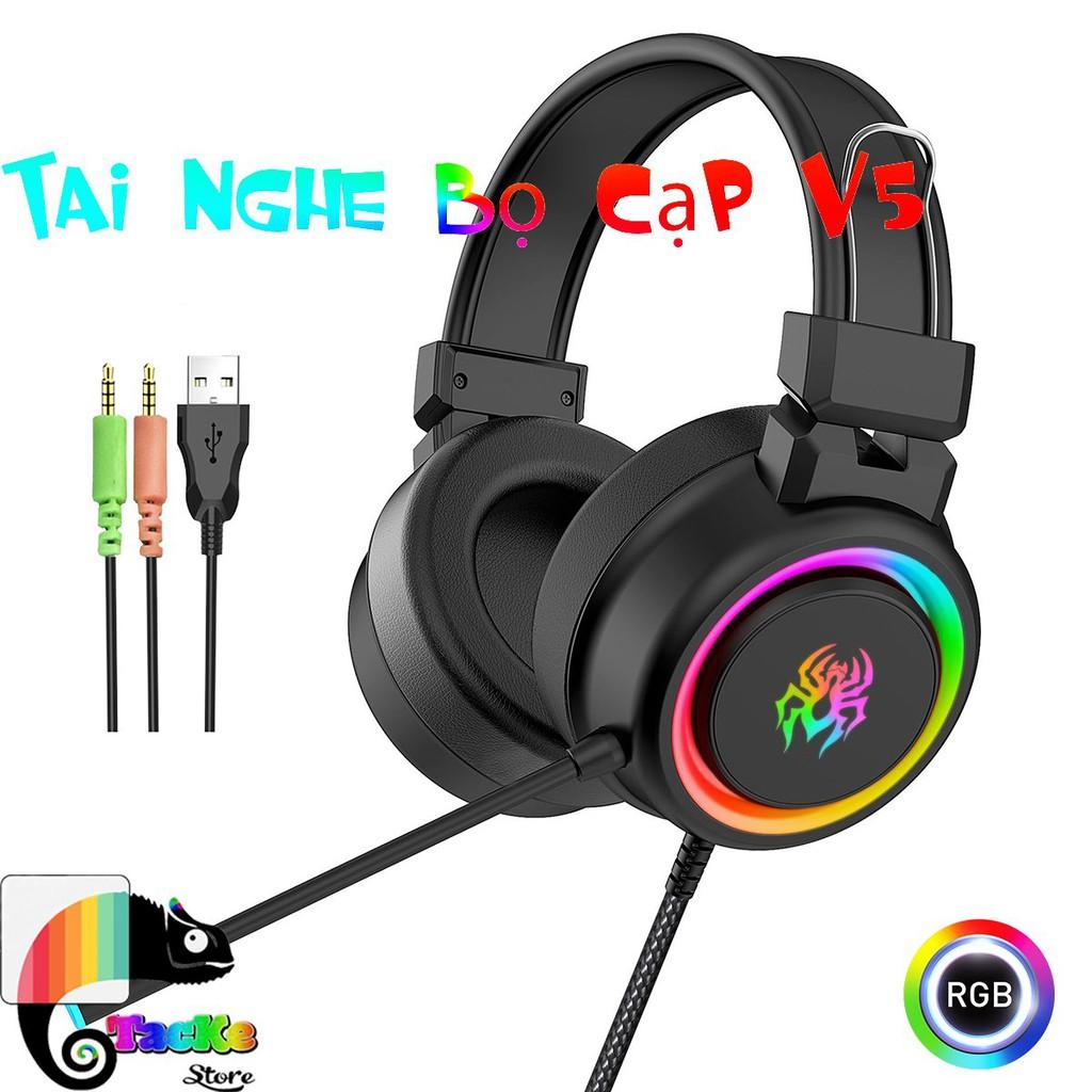 [Mã ELFLASH1 hoàn 10K xu đơn 20K] Tai nghe chuyên game có Mic RGB Led Bọ Cạp V8 I Gaming Headphone RGB V8 Led 3.5mm