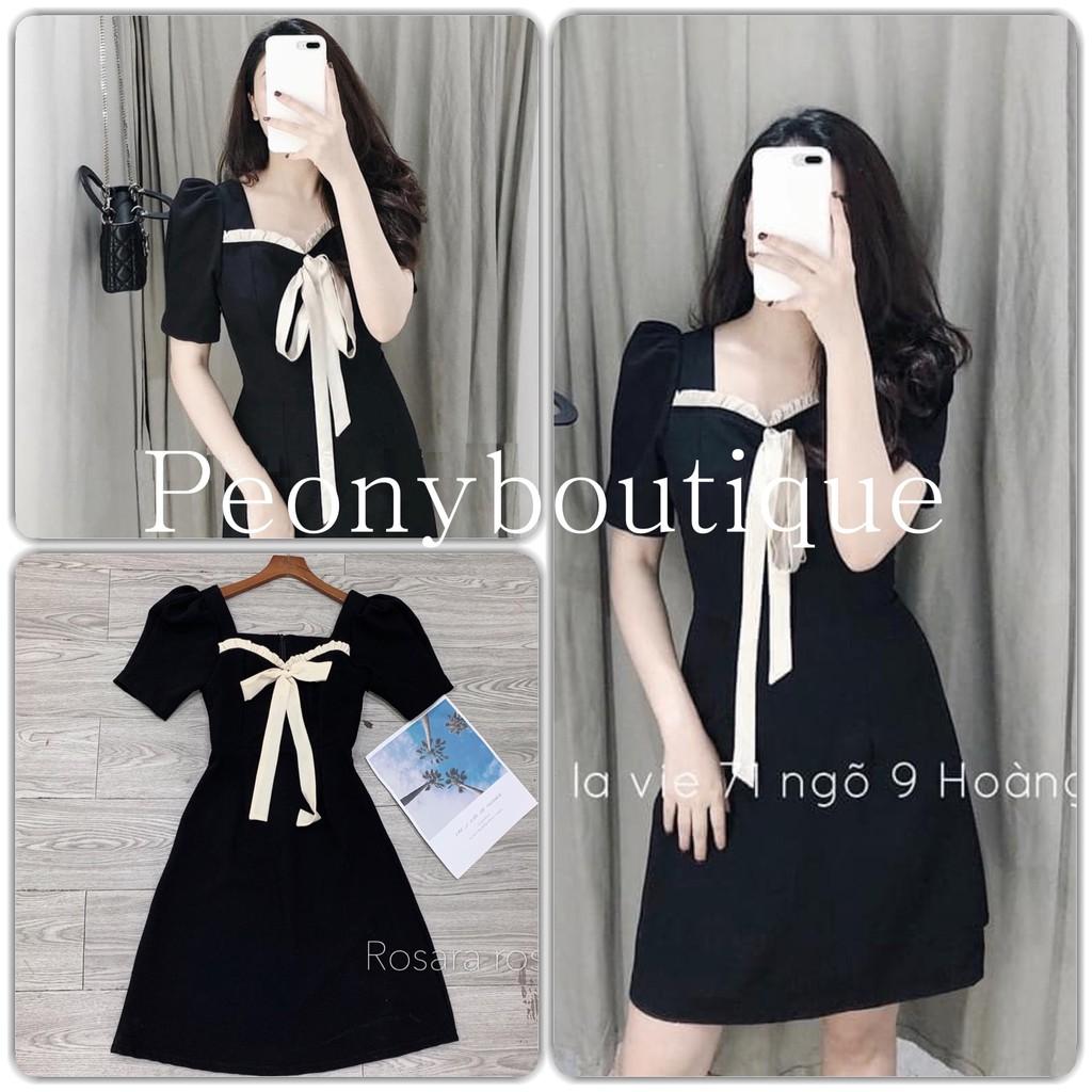 Đầm Thắt Nơ Ngực Viền Bèo Nữ 🌸 Váy tay bồng dáng suông thiết kế buộc dây bánh bèo tiểu thư màu đen SIÊU HOT 🌸