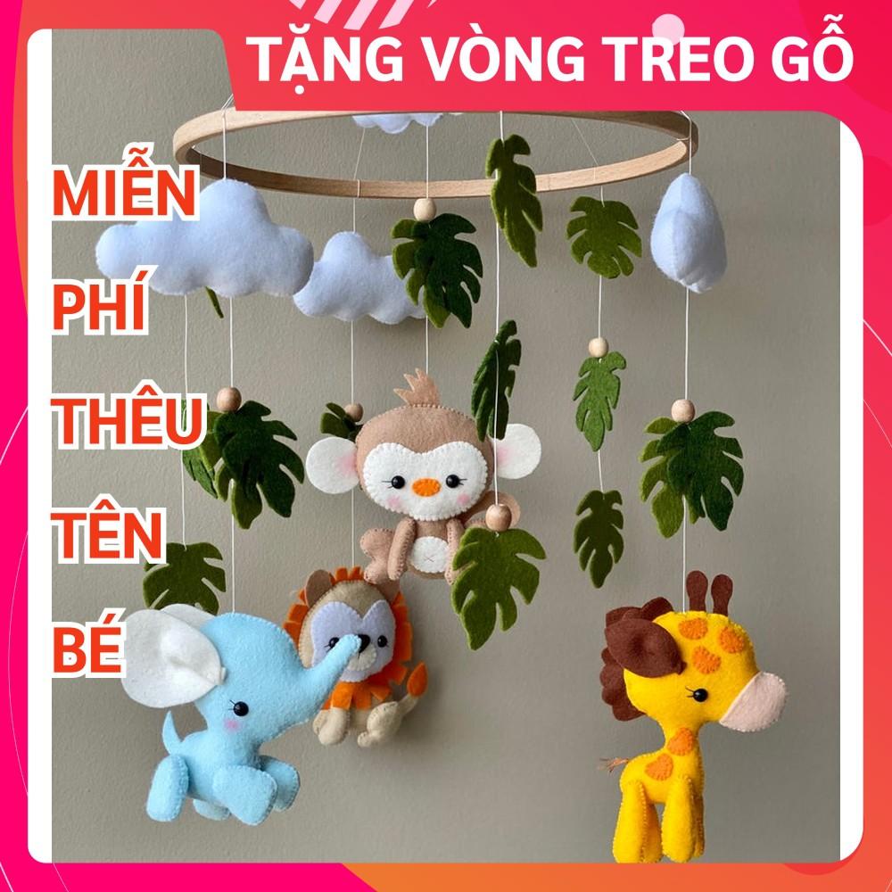 [TẶNG VÒNG TREO + THÊU TÊN BÉ] Đồ chơi treo nôi cũi handmade Coco Kids ảnh thật, tự xoay phát nhạc SƯ TỬ 5
