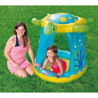 hồ bơi phao bể bơi phao có mái che hình con rùa, đáy mền êm cho bé 109 x 96cm cao 104cm Bestway 52219