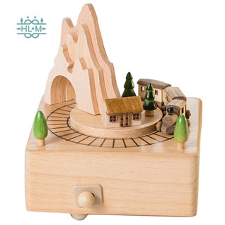 Wooden Musical Box Mountain Tunnel With Moving Magnetic Train | Plays