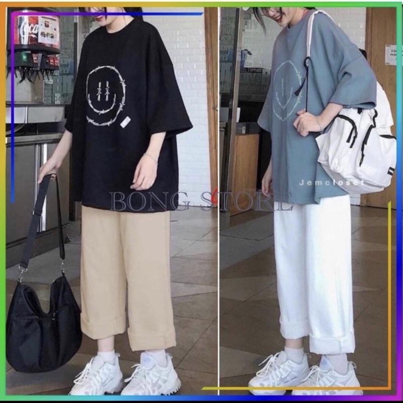 set đồ nữ (HOT_2021), set bộ nữ hàn quốc unisex áo thun hình mặt cười và quần xuông siêu đẹp chất cotton cao cấp