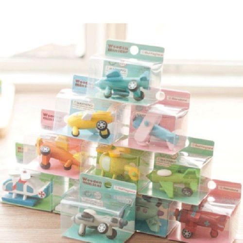 Bộ 12 mô hình máy bay gỗ sắc màu cho trẻ em