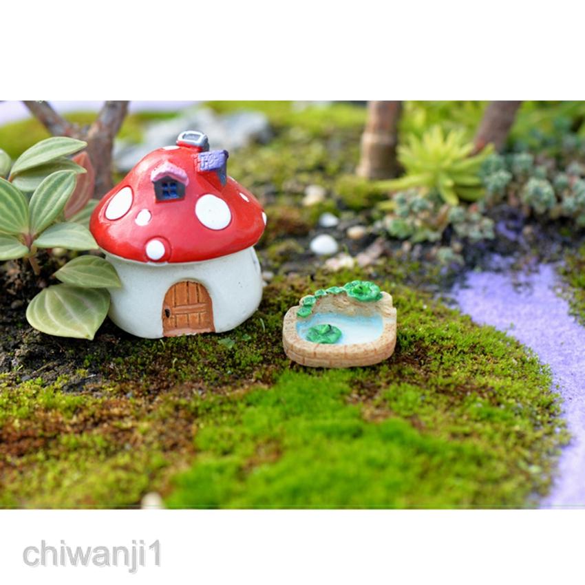 6pcs Mini Resin Pool & House Figurine Fairy Garden Supplies Dollhouse Decor