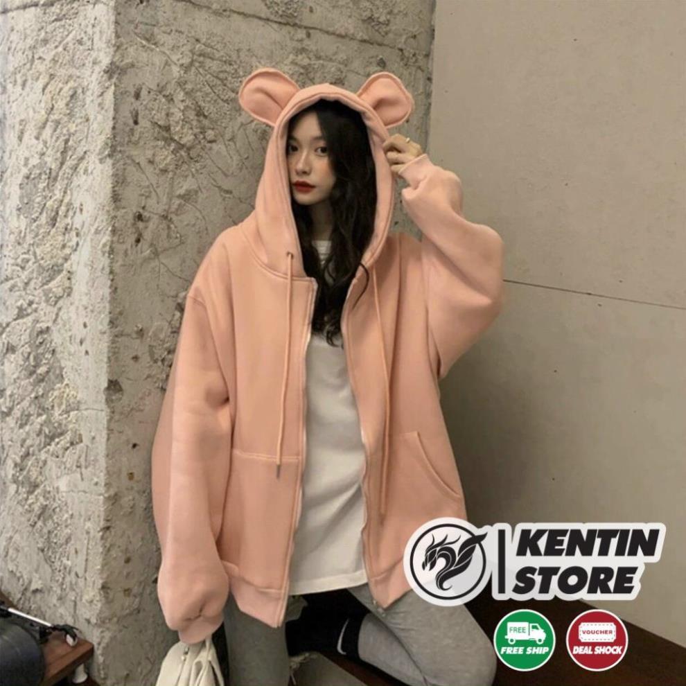 Áo khoác hoodie Chống Rét Cho Nam nữ Unisex Form rộng nón tai thỏ Chất Nỉ Có 4 Màu Ulzzang