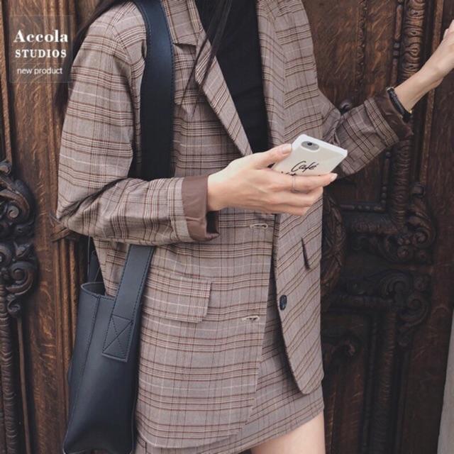 [Hàng có sẵn] Set áo Blazer chân váy kẻ nữ (có ảnh thật)