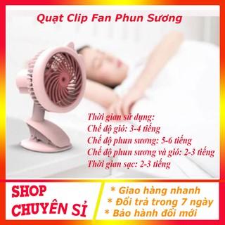 Quạt Phun Sương Mini Tích Điện Để Bàn Đa Năng, Có Kẹp Bàn, 3 Cấp Độ Gió, Quạt kẹp để bàn Clip Fan