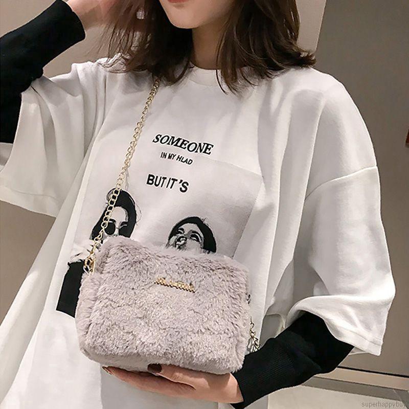 Túi đeo chéo lông nhung dây xích mảnh dễ thương cho nữ