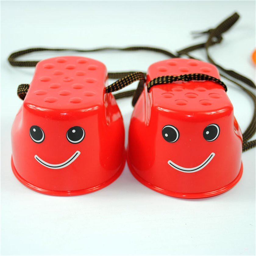 【Kiss】Kids Walk Stilt Jump Smile Face Outdoor Balance Training Toy