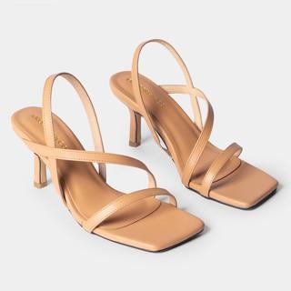 Sandal cao gót 7cm quai mảnh mũi vuông quai mảnh quai ngang phối dây tinh tế KEB022