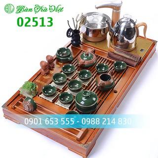 【Hàng có sẵn】Bàn trà điện thông minh đầy đủ Khay bàn, ấm chén, bếp pha trà thông minh inox 304 bản 2020 mã 02513