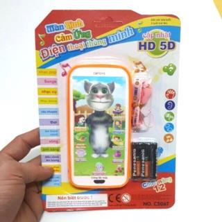 [ĐỌC THƠ, PHÁT NHẠC, CÓ ĐÈN,…] Điện thoại mèo Tom thông minh nói Tiếng Việt tặng kèm pin dành cho bé