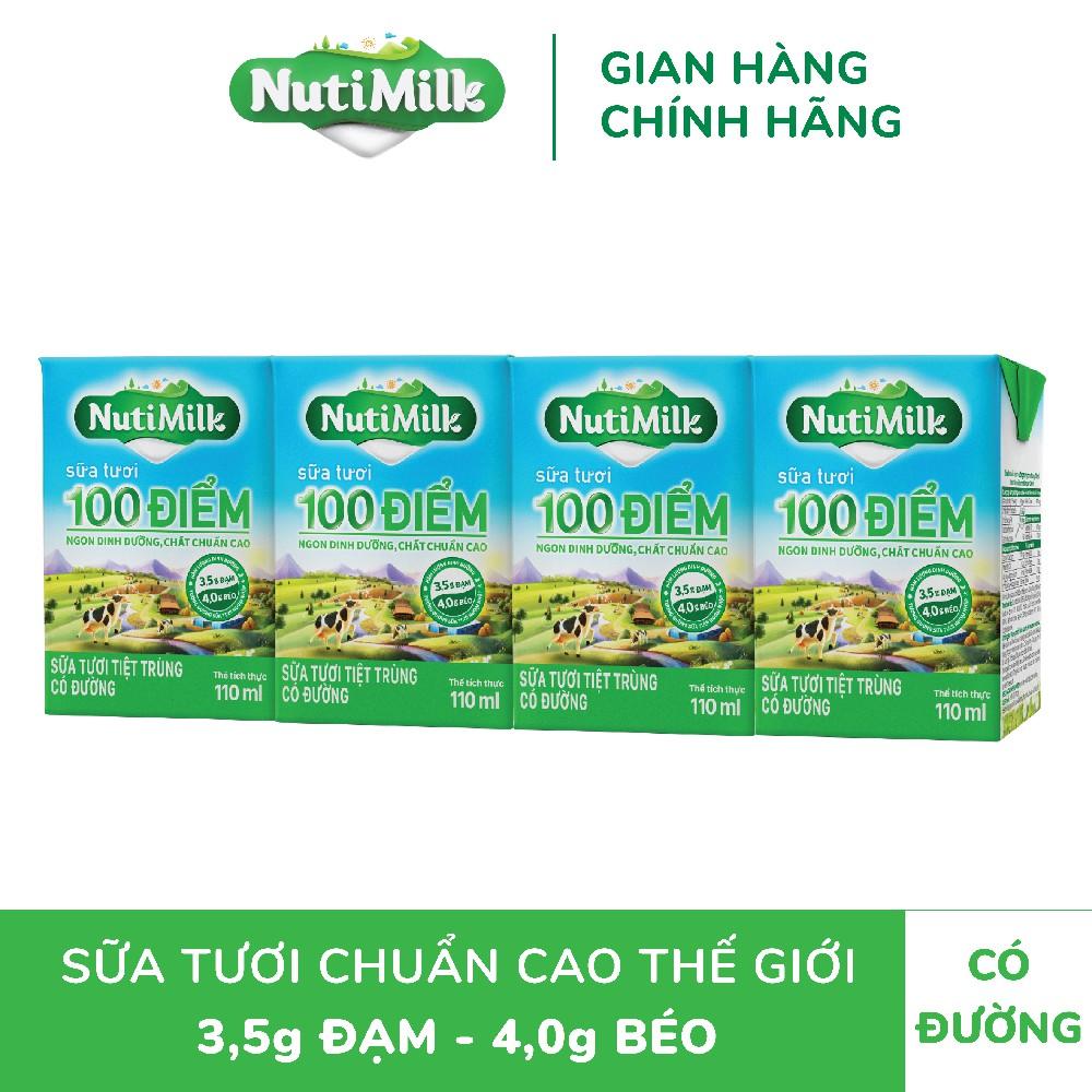 Thùng 48 hộp NutiMilk ST 100 điểm – ST tiệt trùng Có Đường Hộp 110 ml//hộp