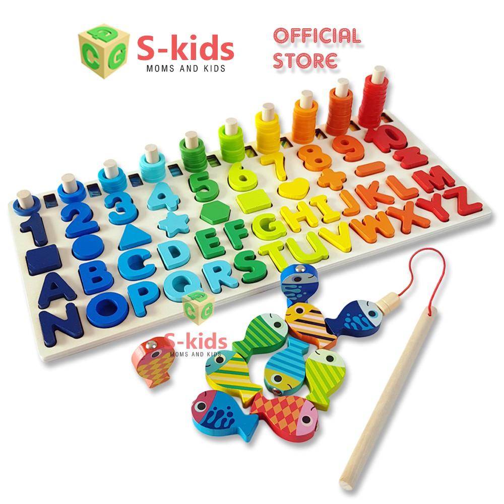 Đồ Chơi Gỗ S-Kids, Bảng Chữ Cái, Số Đếm, Hình Học Tích Hợp Trò Chơi Câu Cá Cho Bé.