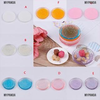 MYPANDA 2pcs dollhouse miniature tableware kitchen plates dish kit kids DIY craft toy