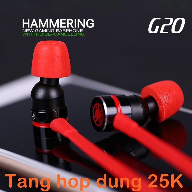 (Tặng hộp đựng TN 25K)TAI NGHE PLEXTONE G20 Chuyên game màu đỏ (Inear)