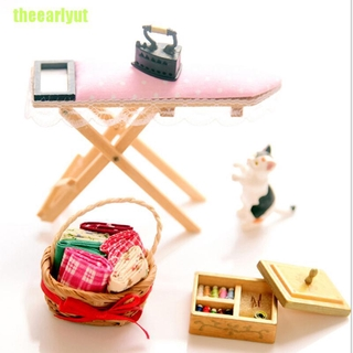 theearlyut 1:12 Dollhouse miniature iron with ironing board set classic furniture toys