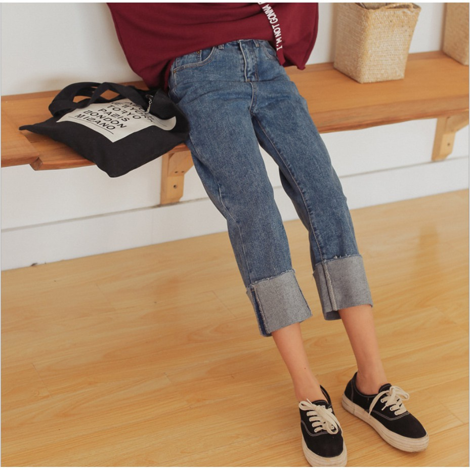 กางเกงยีนส์ทรงเกาหลี ขากระบอกใหญ่ พับขา