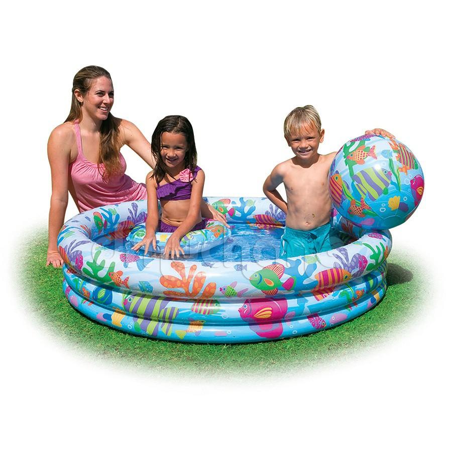 Bể bơi Intex 3tầng 3 chi tiết bóng, phao, bể cho bé tập chơi