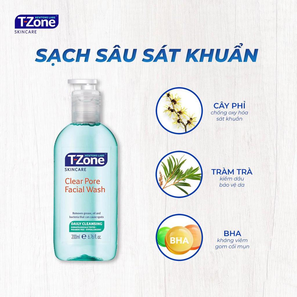 Gel rửa mặt tràm trà cho da dầu mụn T-Zone Clear Pore Facial Wash 200ml