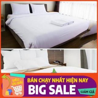 ⚡️ Vải Mềm Mịn ⚡️ Bộ drap trải giường cotton trắng trơn cho gia đình & khách sạn đủ size: 1m/m2/m4/m6/m8/2m2 x 2m