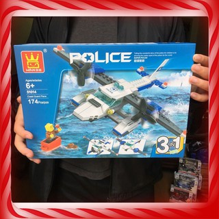 [Giảm Giá] ĐỒ CHƠI TRẺ EM – Xếp hình Lego Máy bay Cảnh sát Chiến Đấu (3 in 1) – Đồ Chơi Lắp Ráp [Loại Tốt]
