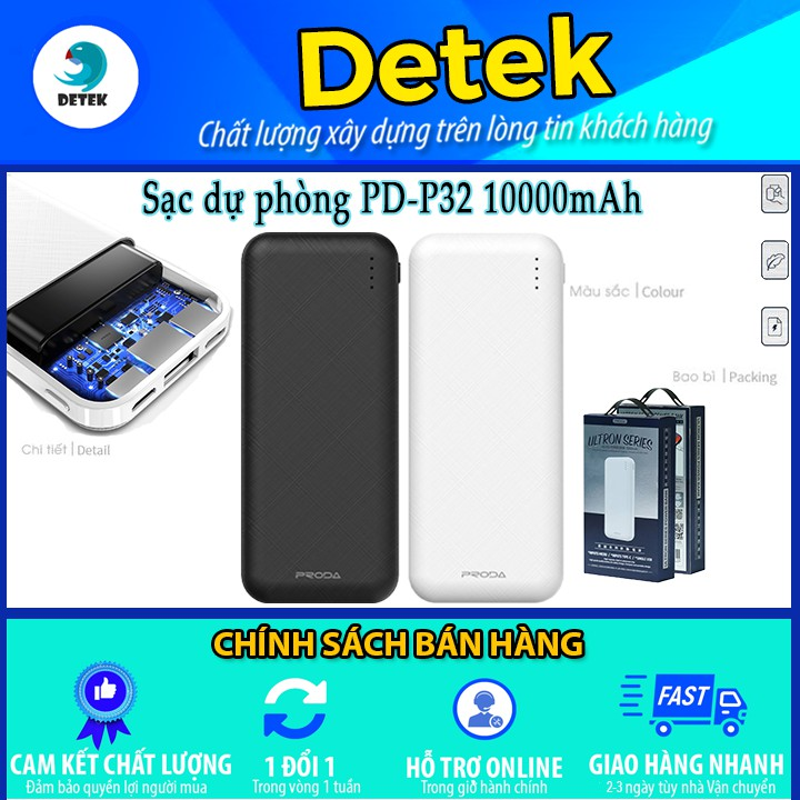🔋 Pin dự phòng siêu nhỏ Proda 10000mAh PD-P32 Ultron Series