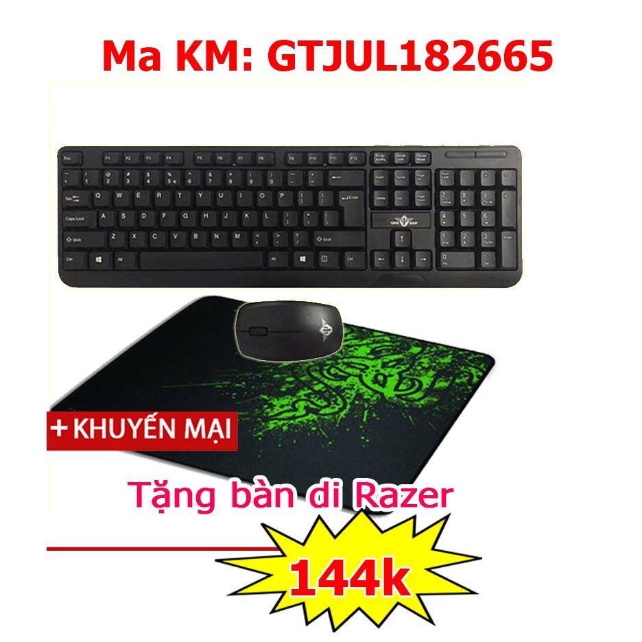 Bộ bàn phím chuột không dây Warship KM200 tặng bàn di Gaming Razer