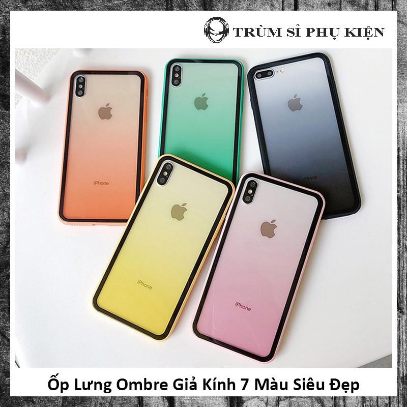 Ốp Lưng Ombre Giả Kính 7 Màu Siêu Đẹp - Ốp Iphone Hai Màu Viền Đen