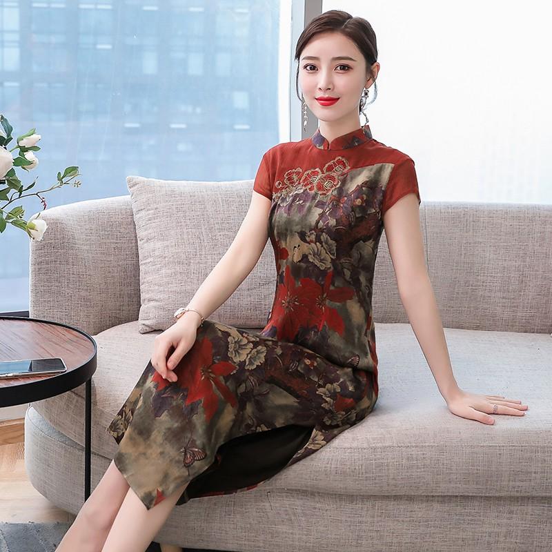 sườn xám vải lụa bóng phong cách trung hoa