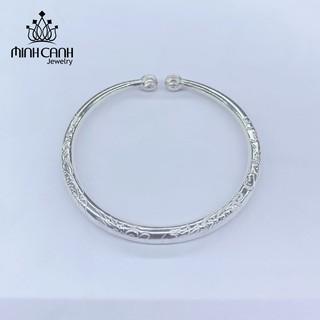 Kiềng Bạc Chạm Khắc Họa Tiết Hình Rồng Cho Bé - Minh Canh Jewelry