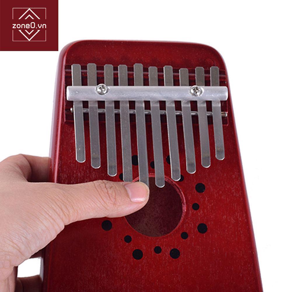 10 Key Kalimba Single Board Mahogany Thumb Piano Mbira with Tone Sticker