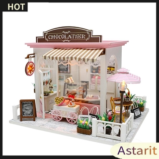 Astarit.DIY Model Wooden Miniature Doll House Furniture Building Blocks Gift Toys