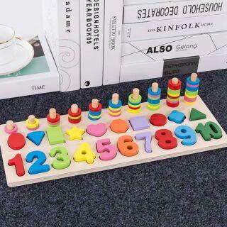 Đồ chơi gỗ Bảng tính thả cọc, hình học,số