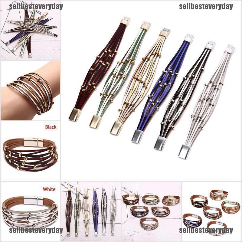 Fashion Women Leather Multi-Layer Beads Handmade Bracelet Jewelry Accessories jelly