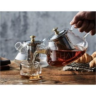 Bình trà thủy tinh chịu nhiệt dáng bầu nắp và lọc trà inox 1000ml