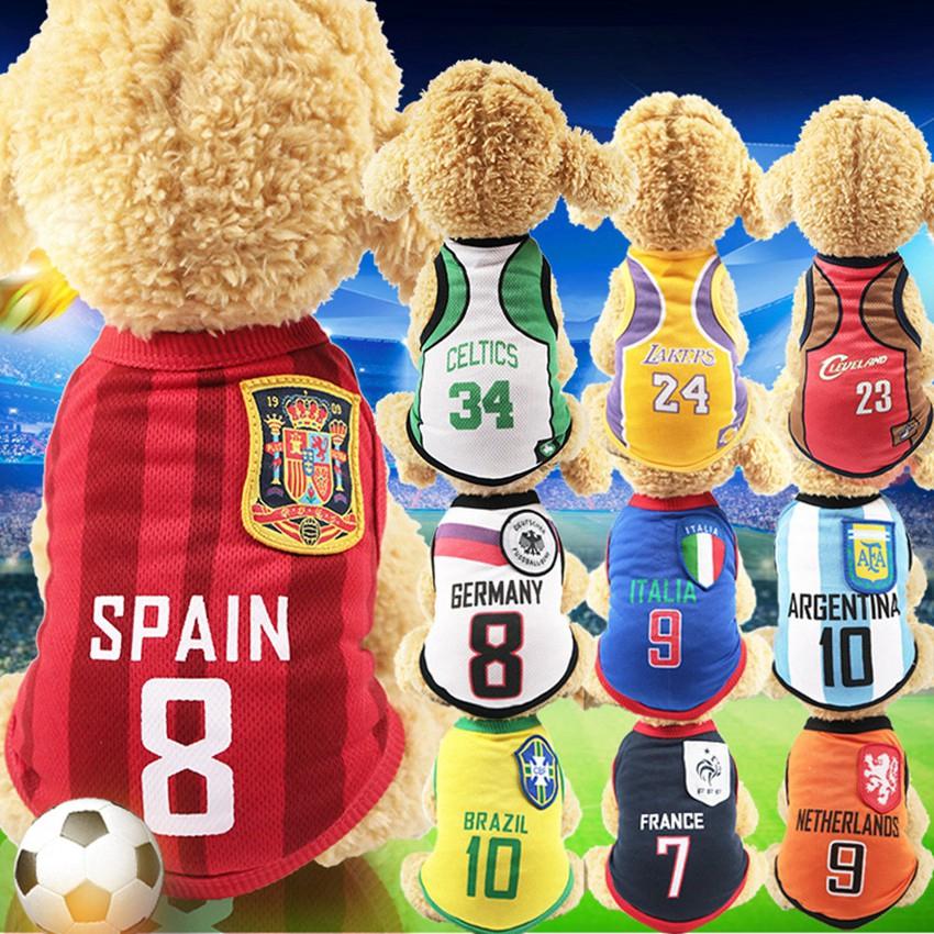 Thời trang bình thường Quần áo cho chó con chó nhỏ Quần áo World Cup vật nuôi chó mèo quần áo người hâm mộ bóng đá