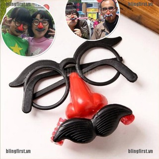 [Bling] Funny Clown Glasses Costume Ball Round Frame Red Nose w/Whistle Mustache [FS]