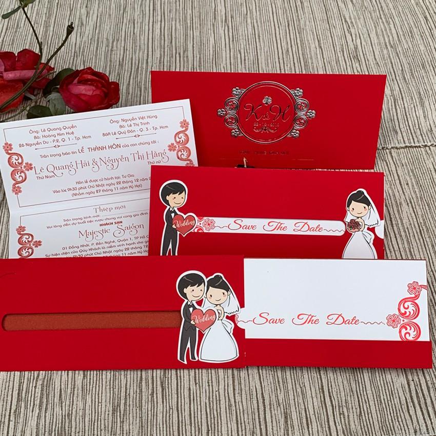 Thiệp cưới DQ-2008 dài ngang (mẫu mới nhất) marry