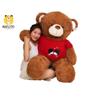 Gấu bông Teddy mặc áo len kiss HAFUTO cao cấp size 1m4